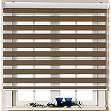 Custom Cut to Size, [Winsharp Basic, caramel, W 39 x H 72 inch] Horizontal Window Shade Blind Zebra Dual Roller Blinds