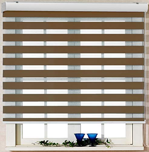 Foiresoft Custom Cut to Size, [Winsharp Basic, Caramel,W 59 x H 82 inch] Zebra Roller Blinds, Dual Layer Shades, Sheer or Privacy Light Control, Day and Night Window Drapes, 20 to 110 inch Wide
