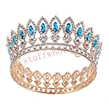 Stuffwholesale Princess Full Crown Wedding Party Hair Jewelry Gold Tiara