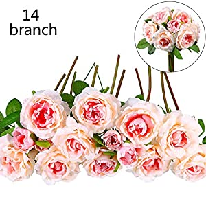 Chengu Bouquet Silk Flower Bouquet Artificial Flower Fake Rose 14 Bunches for Wedding, Room, Home, Hotel, Party Decoration, 7 Inch 53