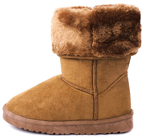 Women Amy Wooden Button Faux Fur Lined Shearling Mid Calf Winter Boots Tan_house RP1BW1Xs