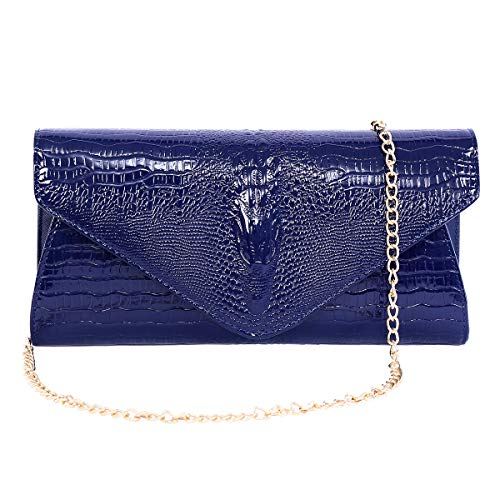 - Women's Envelope Clutch Bag Leather Evening Party Bag Shoulder Bags with Gold Chain Blue