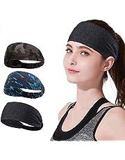 YOMYM 3 Pack Headbands Sports Sweat Band Hairband for Men Women Running, Basketball, Soccer, Tennis, Cycling, Cardio, Gym Exercise, Sports Training Headband