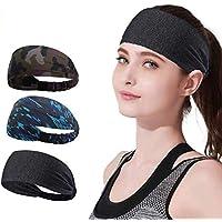 YOMYM 3 Pack Headbands Sports Sweat Band Hairband for Men Women Running, Basketball, Soccer, Tennis, Cycling, Cardio…