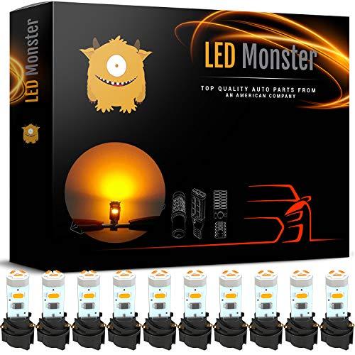 LED Monster 10 Pack Amber Twist Socket T5 5-SMD LED Gauge Cluster Bulbs Dashboard Light Lamp Instrument Panel Indicators ()