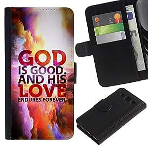 Billetera de Cuero Caso Titular de la tarjeta Carcasa Funda para Samsung Galaxy S3 III I9300 / BIBLE God Is Good And His Love Endures Forever / STRONG