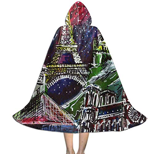 Halloween Costumes Midnight in Paris Painting (2) Hooded Witch Wizard Cloak for Womens Mens Kids L