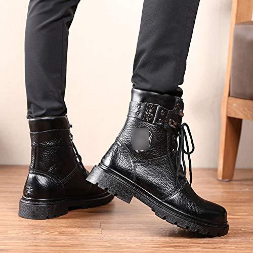 Martin Bottines Black Hommes Décontractées Militaires Mode Bottes velvet Mi De Pour velours Qikai IqnYARwBxw