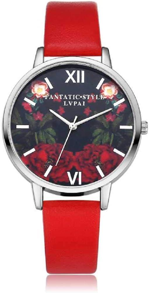 Venta de liquidación, WSSVAN Sra. Reloj analógico de cuarzo Correa de cuero PU Tendencia de la moda Reloj Lady Silver Rose Dial