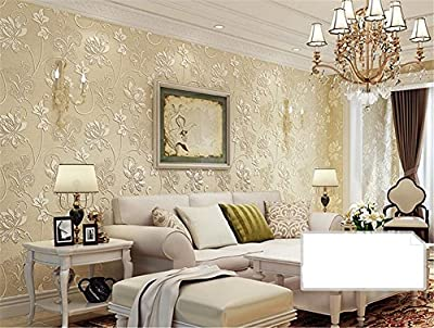 HQW Wallpaper Thicker Pastoral Style Self-adhesive Wallpaper 3D Stereo Non-woven Waterproof Living Room Restaurant TV Wall Bedroom Clothing Shop Wallpaper -53 cm (W) 5 m (L)