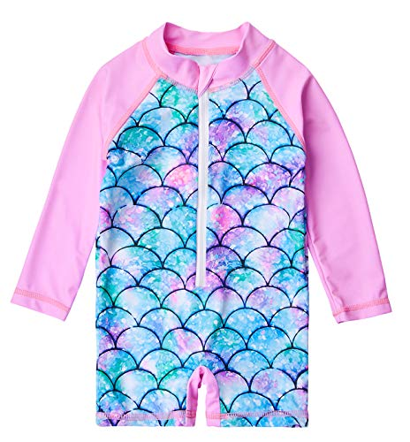 uideazone Toddler Swimsuit Long Sleeve Swimming Costume Fish Scale Printed Swimsuits for Baby Girls 18-24 Months Pink -