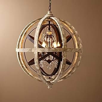 KunMai Rustic Retro Weathered Wooden Globe Metal Orb