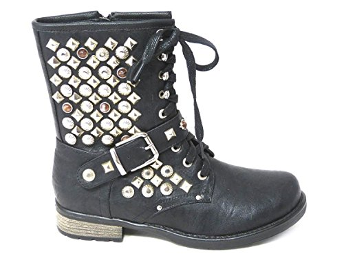 Distressed Flat Worker Cuban Cowboy Riding B12 Boots Womens 6 3 Ankle SKO'S Black Boots 5 Zip 4 7 Lace Ladies Size Ankle Biker Boots Mid Chelsea Combat 8 UP Biker Calf nT6nOq