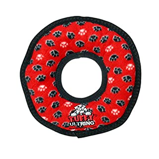 TUFFY Ultimate Ring, Durable Dog Toy (Regular, Red Paw)