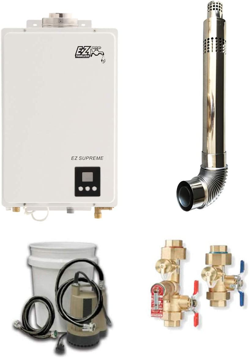 EZ Supreme Natural Gas Tankless Water Heater w/Maintenance/Flush Kit