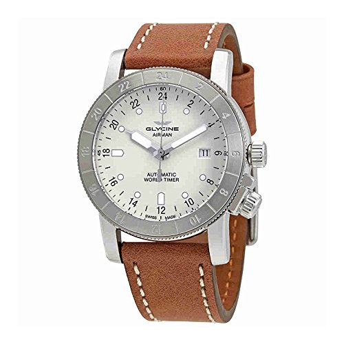 Gmt World Timer (Glycine Airman World Timer GMT Automatic Silver Dial Mens Watch GL0141)