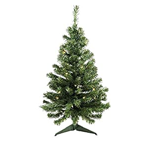 "Northlight Pre-Lit Niagara Pine Medium Artificial Christmas Tree-Clear Lights, 3'19"", Green 6"