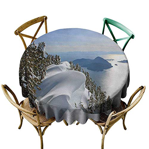 Wendell Joshua Round Outdoor Tablecloth 54 inch Winter,Pacific Ocean Meets The Mountains Vancouver British Columbia Canada,White Olive Green Blue Polyester Fabric Table Cloth