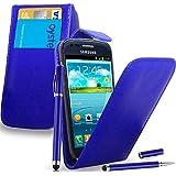 Samsung Galaxy S3 Mini i8190 - Leder Flip Hülle Tasche + 2 in 1 Stylus Pen + Screen Protector & Poliertuch ( Blue )