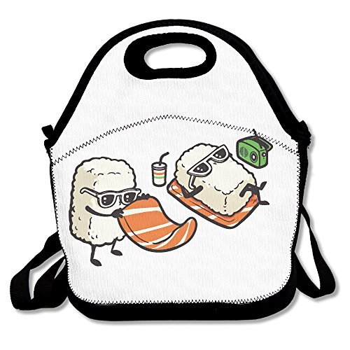 Funny Cartoon Salmon Sushi Insulated Lunch Bag - Neoprene Lunch Bag - Large Reusable Lunch Tote Bags For Women, Teens, Girls, Kids, Baby, Adults Portable Carry
