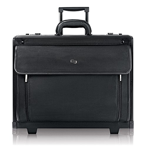 Solo New York Herald Rolling Catalog Case with Padded Laptop Compartment That Fits Up to 16 Inch Laptop, Equipped with Dual Combination Locks and Two Wheeled Hard Sided Catalog Case for Men and Women, Black (Laptop Catalog Case)