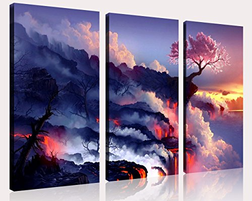 QICAI 3 Panels Magic Cherry Tree in Volcanoes Canvas Prints Modern Canvas Wall Art Paintings Stretched and Framed Giclee Artwork Abstract Wall Art for Room Decoration Home Wall Decor,3 pcs/set - Cherry Panel Poster