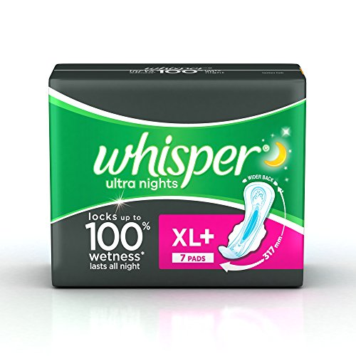 a9c512bc10d5 Whisper Ultra Night XL Wings Sanitary Pad (Pack of 15) - Buy Online ...