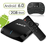 [2GB RAM 16GB ROM] Globmall Android 6.0 TV Box with Wireless Qwerty Keyboard and Bluetooth 4.0, Abox 4K TV Box with Quad-Core 64 Bits Amlogic S905X CPU