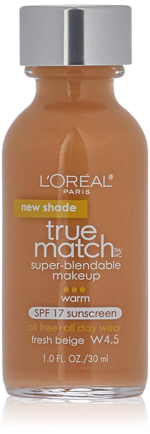 L'Oreal Paris Makeup True Match Super-Blendable Liquid Foundation, Fresh Beige W4.5, 1 Fl Oz,1 Count