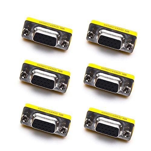 Antrader 6pcs DB15 VGA SVGA KVM Female to Female Mini Gender Changer Coupler Adapter Connector (Mini Db15 Gender Changer)