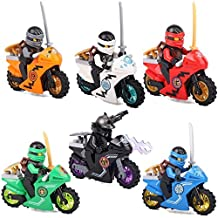 New Cool Adventure MiniToys for Children Ninjago Series Cole Jay Kai Lloyd Zane and Lord Carmadon with Motorcycles Play Set Minifigures Building Brick Blocks Toy, 6Pcs/Set ABS Plastic Multi-color