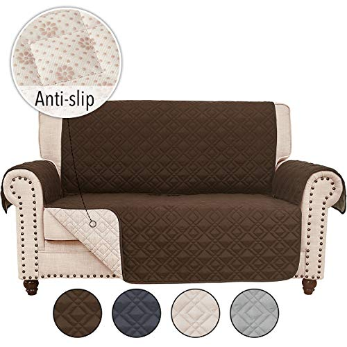 RHF Anti-Slip Loveseat Covers for Leather Sofa, Couch Cover, Loveseat Cover for Living Room, Slipcover&Love Seat Couch Covers, Slip-Resistant Couch Cover for Leather Sofa (Loveseat: Chocolate)