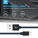 Akaho Micro USB Cable,3Pack 6FT Long Nylon Braided High Speed 2.0 USB to Micro USB Charging Cables Android Fast Charger Cord for Samsung Galaxy S7 Edge/S6/S4,Note 5/4/3,HTC,Tablet(Black Blue)