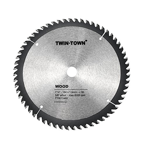 TWIN-TOWN 7-1/4-Inch 60 Tooth ATB Fine Finish Thin Kerf Saw Blade with 5/8-Inch DMK Arbor