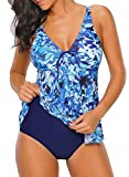 LOSRLY Women V Neck Ruched Front Blue Camo Printed Swimwear Ruffle One Piece Swimsuits Patchwork Bathing Suits Color-5 S