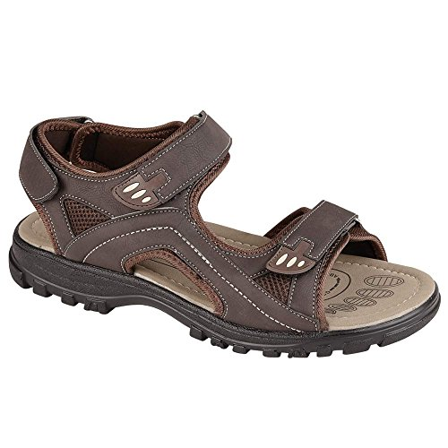 Mens Sandals Hiking Walking Summer Beach Mules Velcro Sports Trekking Sandals Mules Shoes Size 6 - 12 Brown KsxUvf