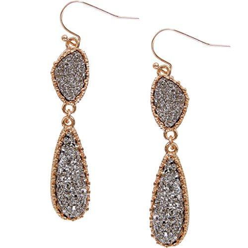 Humble Chic Simulated Druzy Drop Dangles - Gold-Tone Long Double Teardrop Dangly Earrings for Women, Simulated Hematite, Grey, Metallic, Silver-Tone, Gold-Tone