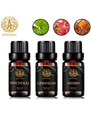 Aromatherapy Myrrh Essential Oil Set for Diffuser, 3X10ml 100% Pure Patchouli Essential Oil Kit for Humidifier - Myrrh, Patchouli, Geranium Essential Oil Set, Aromatherapy Geranium Oils Kit