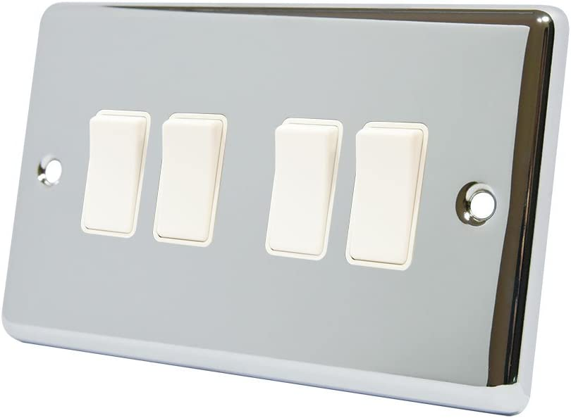 AET CPC2GSOCWH Polished Chrome Classical 2 Gang White Insert Plastic Rocker Switches-13 Amp Double Plug Socket