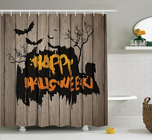Scary Shower Curtain Decorations by Ambesonne, Happy Halloween Graffiti Style Lettering on Rustic Wooden Fence Scary Evil Effect Art, Polyester Fabric Bathroom Shower Curtain Set with Hooks, (Handmade Halloween Decorations)