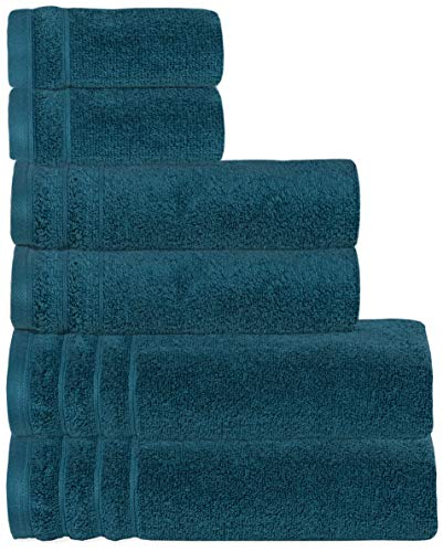 GLAMBURG Premium Quality - Super Soft Zero Twist 6-Piece Towel Set - 100% Pure Cotton - Luxurious Light Weight Quick Dry and Absorbent - Teal (Bathroom Towels Teal)