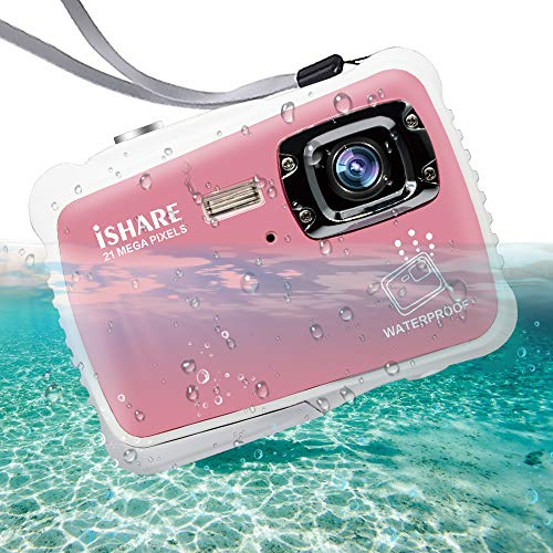 "ISHARE Waterproof Kids Camera, 21MP HD Underwater Digital Camera for Kids with 2.0"" LCD, 8X Digital Zoom, Flash and Mic for Girls/Boys (Pink)"