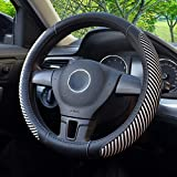 BOKIN Steering Wheel Cover, Microfiber Leather and Viscose, Breathable, Anti-Slip, Odorless, Warm in Winter and Cool in Summer, Universal 15 Inches (New White)
