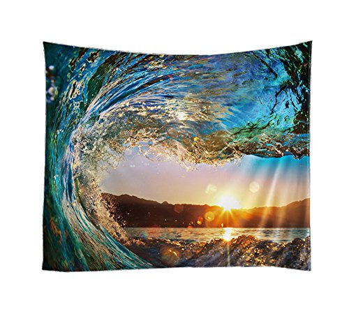 Decorative Wall Hanging Tapestry | Queen Size 60 80 inches | Bohemian Hippie Art Curtains Drape | Table Top Sofa Cover | Mandala Outdoor Picnic Beach Throw | Ethnic home Decor Bed Spread (Wave)