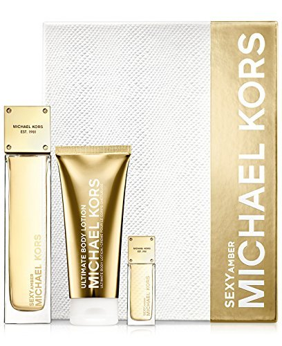 Michael Kors Sexy Amber 3pcs Gift Set 3.4 Oz EDP Spray, 0.24 EDP Deluxe Mini & 3.4 Oz Body Lotion