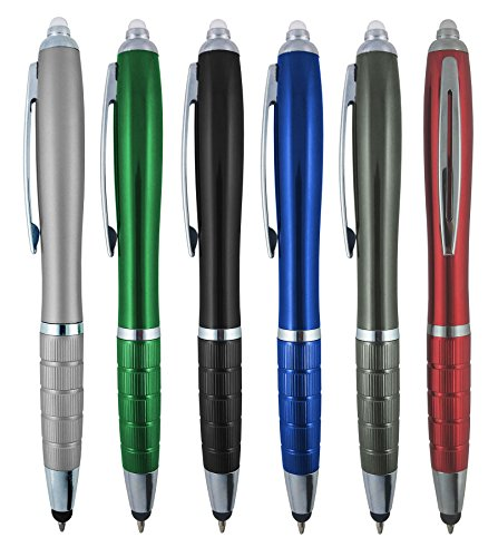 3-1 Twist Action Multi-Function, Ball Point Black Ink Pen, Capacitive Stylus Touchscreen Devices, LED Flashlight, Medical Pen Light Home,Work,Doctors Nurses SyPen (Multi-Color ()