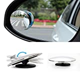 """Upgrade Round 2"""" Blind Spot Mirrors Frameless HD Glass Convex Wide Angle 360° Rotate Adjustable Stick-On Car Rear View Exterior Side Mirror for All Car SUV Trucks"""