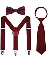 Kids Suspender Bowtie Necktie Sets - Adjustable Elastic Classic Accessory Sets for 6 Months to 13 Year Old Boys & Girls (Wine red, 31.5 Inches (Fit 6 Years to 13 Years))