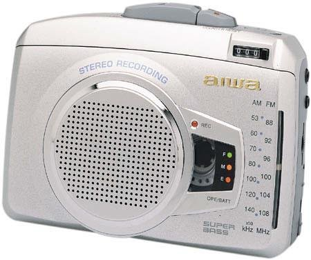 AIWA STEREO RADIO CASSETTE RECORDER, Super Bass, With connecting Microphone, Model No. HS-JS199, DC 3V
