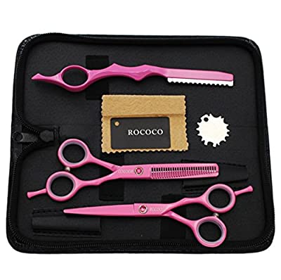 ROCOCO Professional 5.5 inch Pink Salon Hair Cutting Scissors and Hair Thinning Shears with Razor for Female Hairdresser